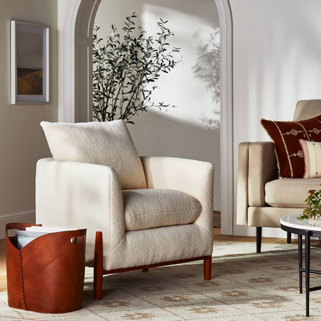 Elroy Sherpa Accent Chair with Wood Legs