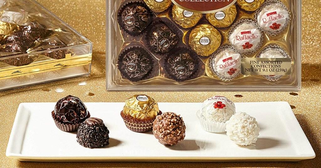 Chocolates on white tray