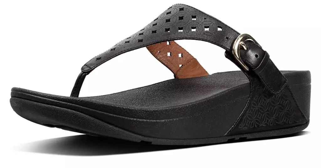 FitFlop Women's Skinny Latticed Leather Toe-Thongs in Black