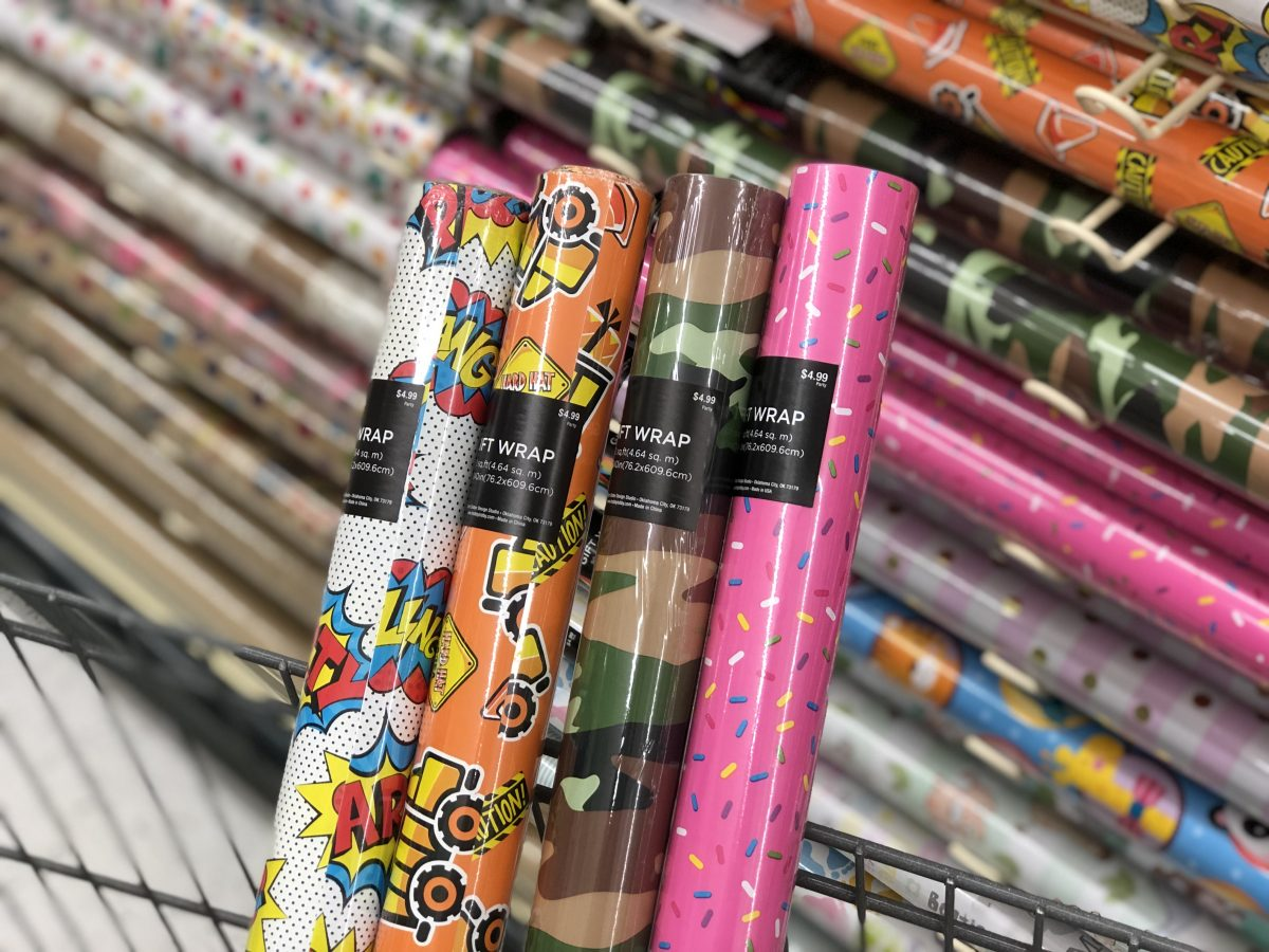 rolls of gift wrap at Hobby Lobby