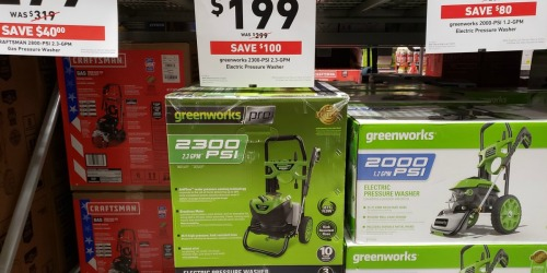Greenworks Electric Pressure Washer Only $199 at Lowe's (Regularly $300) – In-Store & Online