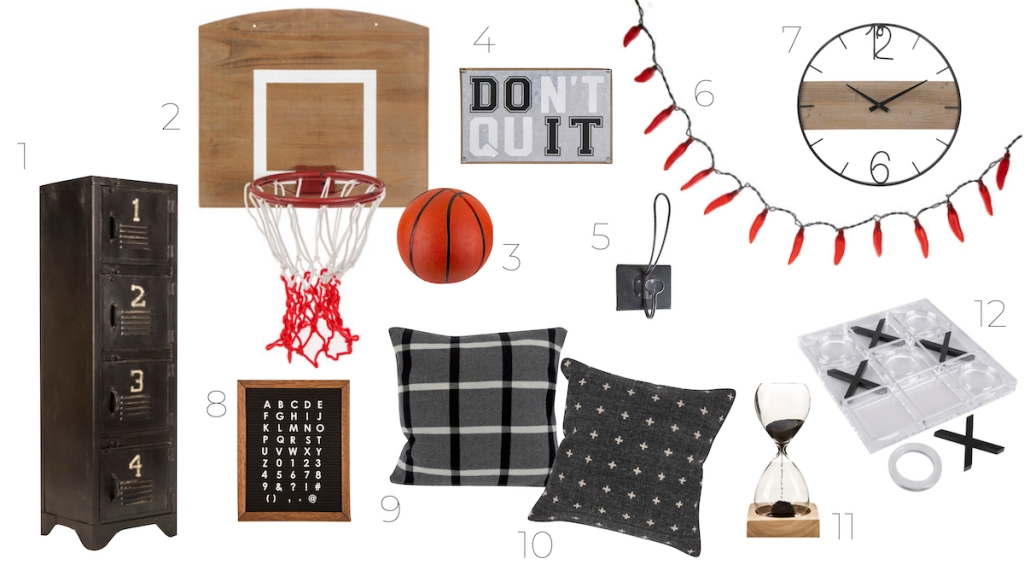 various masculine home decor pieces on white background - kids decor themes hobby lobby