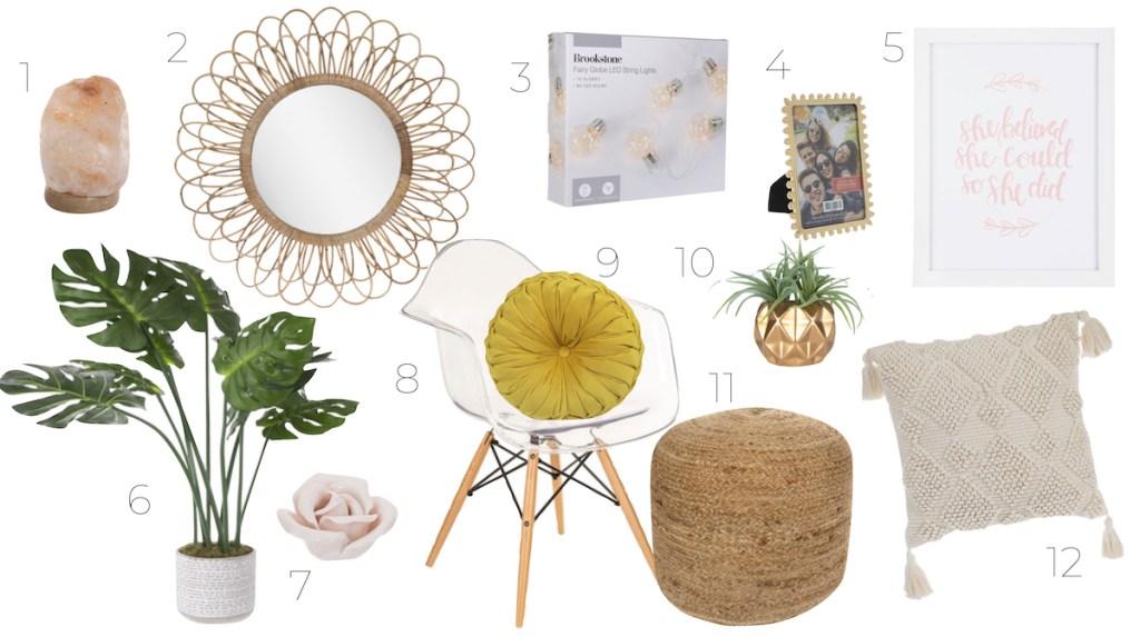 various feminine home decor pieces on white background - kids decor themes hobby lobby