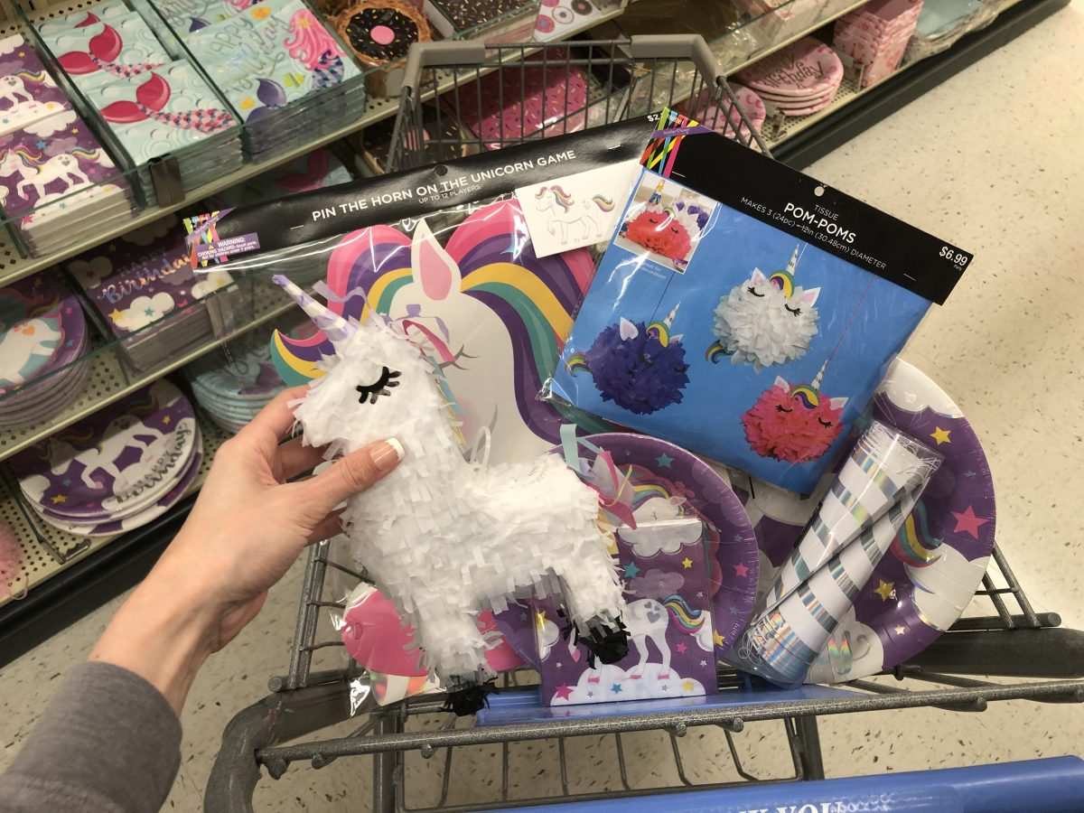 unicorn-themed party supplies at Hobby Lobby