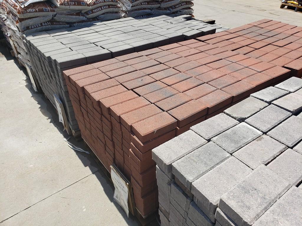 palettes of paver bricks