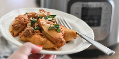 No Need to Boil Pasta with This Instant Pot Stuffed Shells with Meat Sauce Recipe