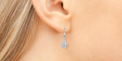 Cate & Chloe 18K White Gold Teardrop Earrings Only $14.99 Shipped (Regularly $150)