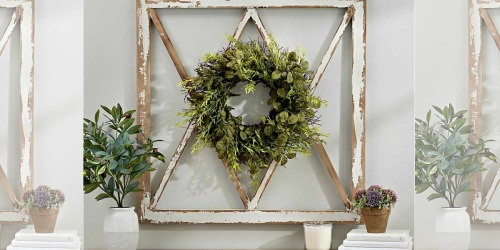 Wreath Topped Windowpane Wall Plaque Just $29 at Kirkland's (Regularly $80) – Today Only