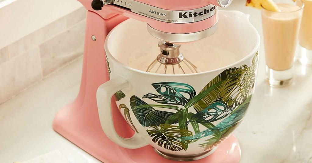 KitchenAid Ceramic Mixing Bowl on pink mixer