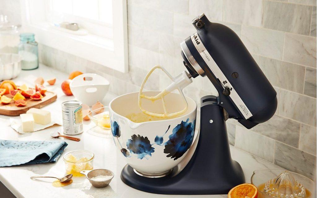 KitchenAid Ink Watercolor Bowl on black mixer