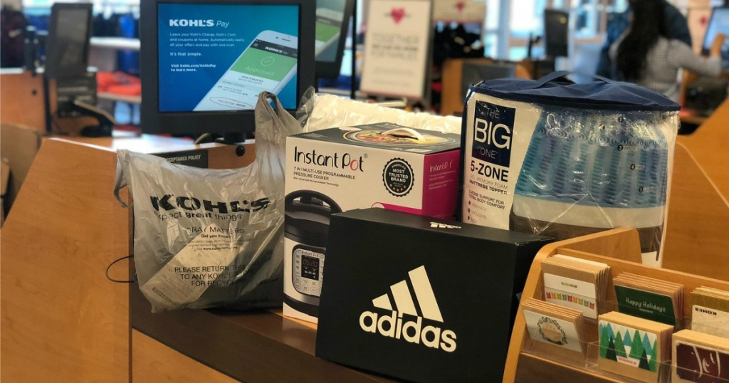 mattress topper,Instant Pot and an adidas bag on Kohl's check-out counter