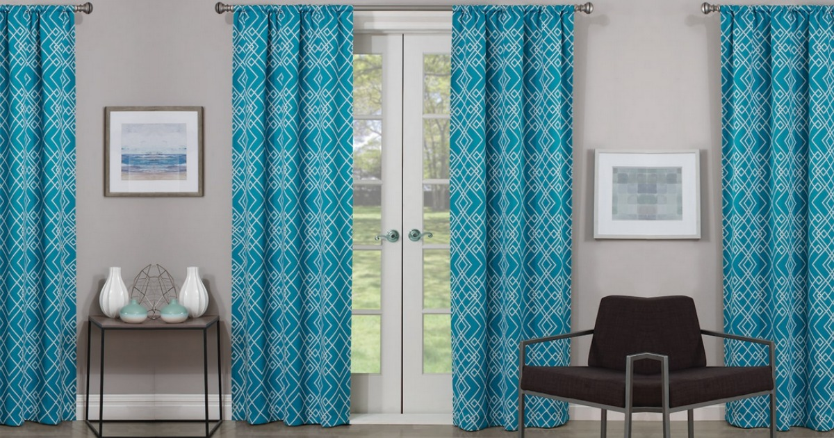 Kohl's blackout curtains in a blue pattern
