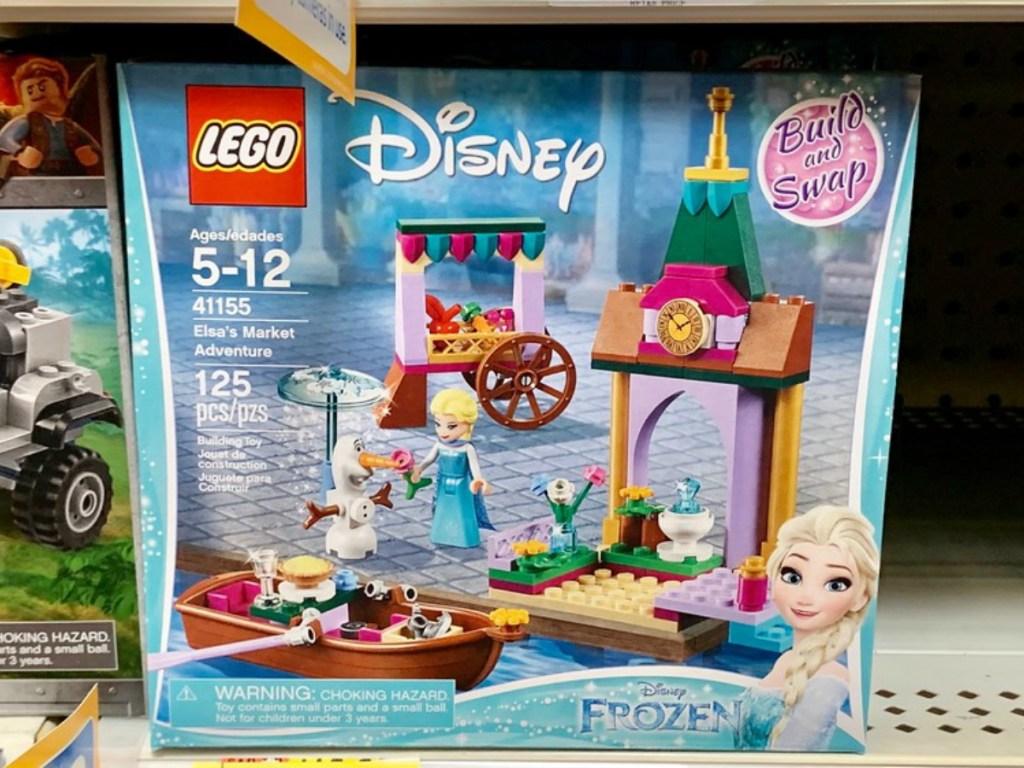 LEGO Elsa's Market Adventure on a store shelf
