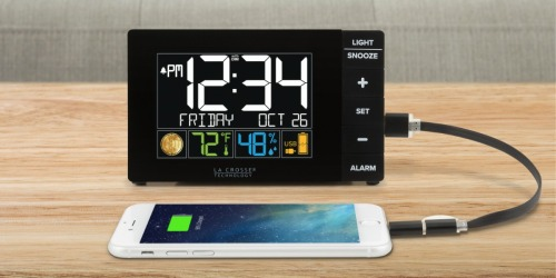La Crosse Technology Color Alarm Clock w/ USB & Temperature Only $12.70 (Regularly $27)
