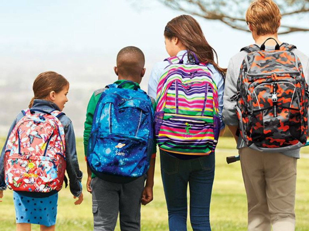kids wearing Lands' End backpacks