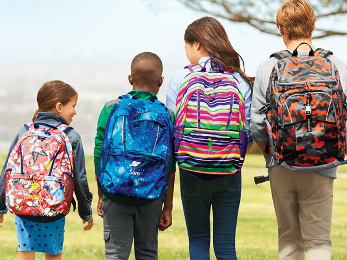 kids wearing Land's End backpacks and walking