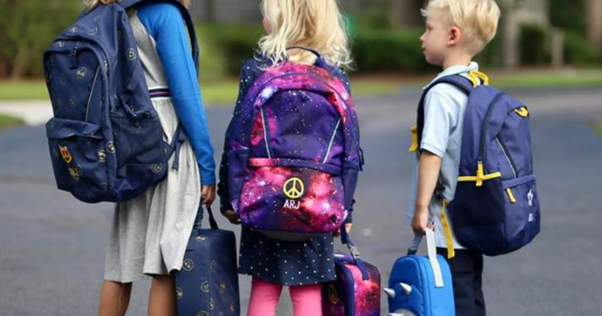 young kids with Land's End Backpacks and lunchboxes