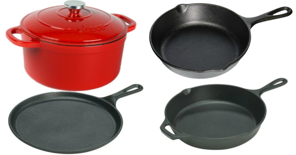 lodge 5 piece set with red pot
