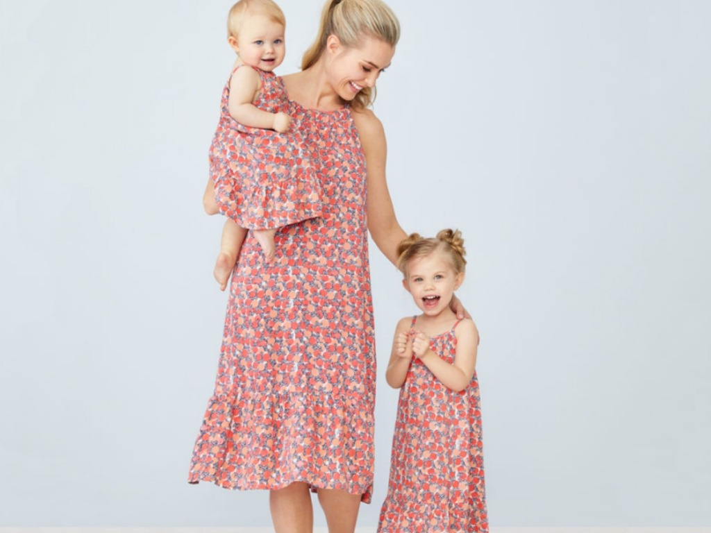 Mom and two girls wearing Mommy and Me Peyton & Parker floral dresses