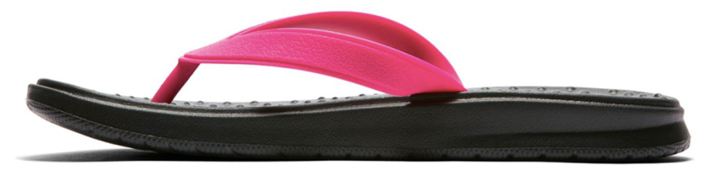 Nike Women's Solay Flip Flop Sandal with pink strap and black sole