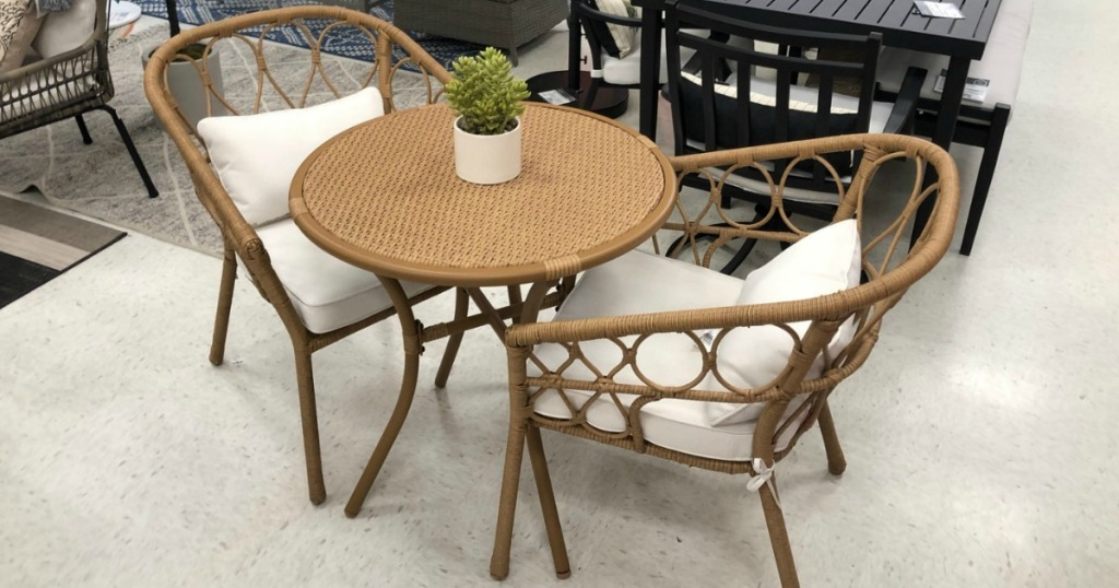 wicker chair and table set