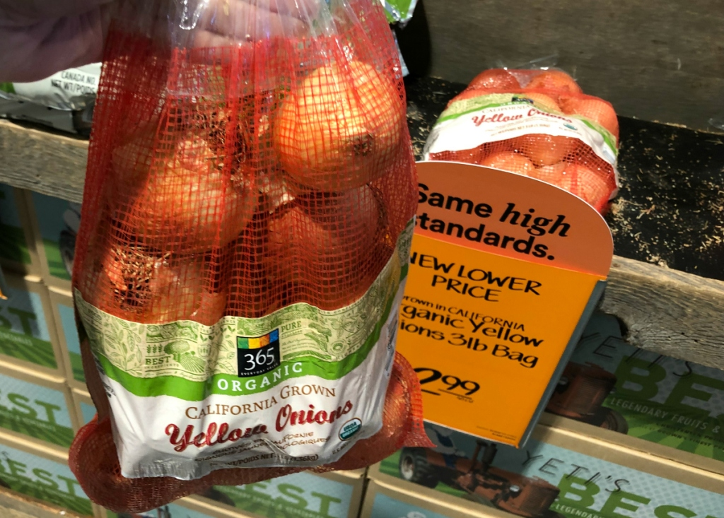 Organic onions at Whole Foods