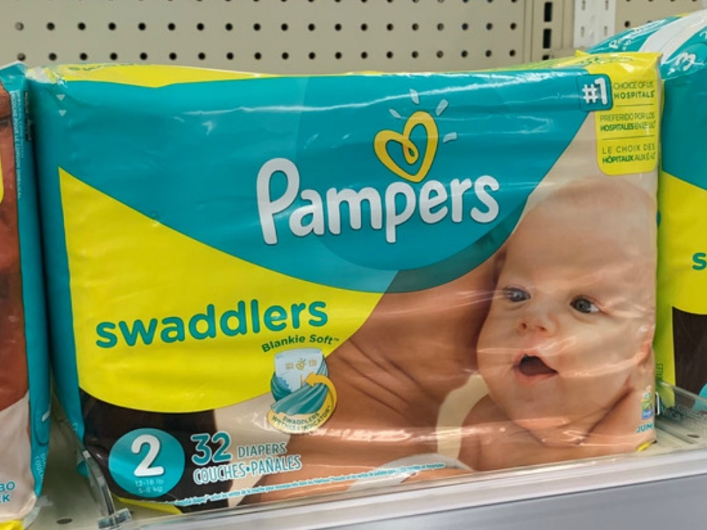 Pampers Swaddlers diapers on Walgreens shelf