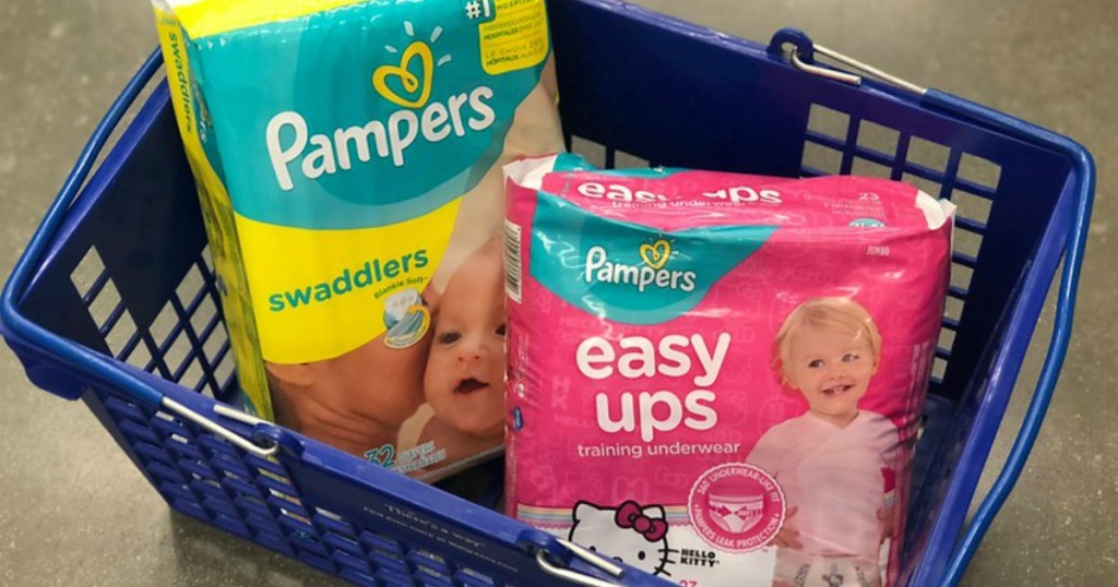 Pampers Swaddlers diapers and Easy Ups in a Walgreens shopping basket