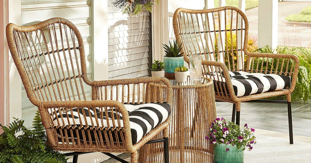 Pier1 Imports Chat 3 Piece Patio Collection W Striped Cushions On