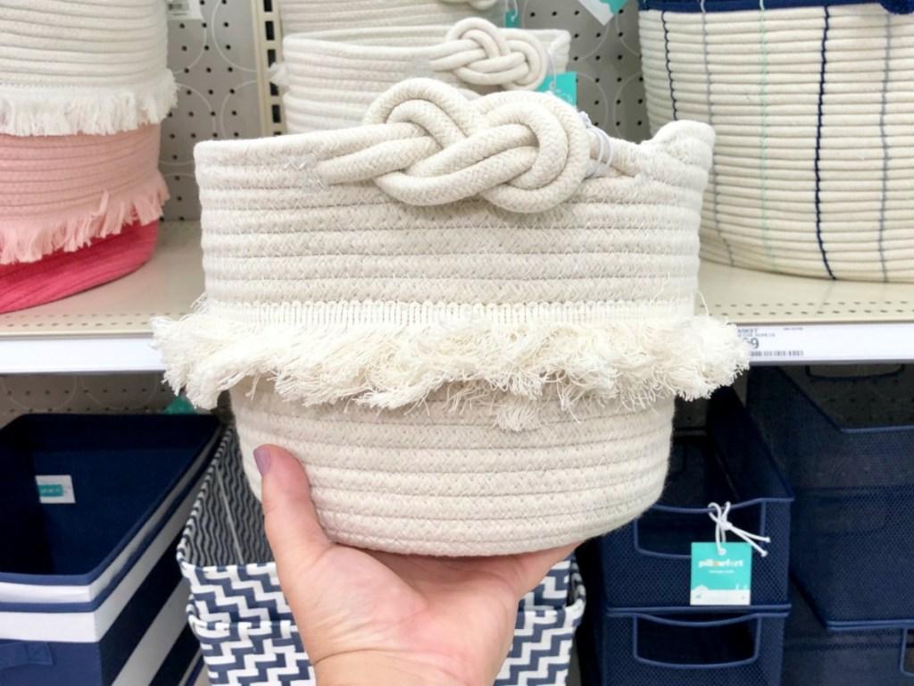 white pillowfort corded basket