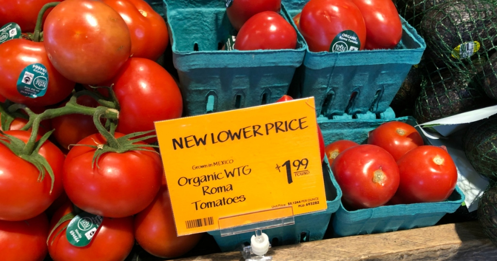Roma tomatoes at Whole Foods
