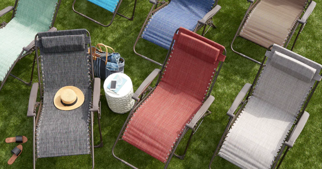 Multiple Colors of SONOMA Goods for Life Anti-Gravity Chairs in grass