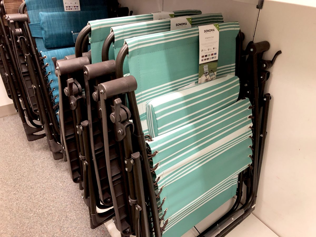 folded anti-gravity chairs on their Kohl's display