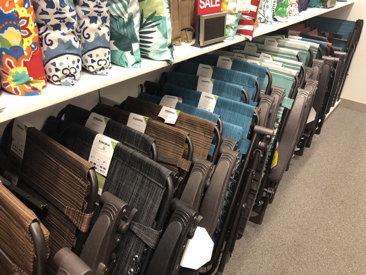 anti-gravity chairs on display at Kohl's