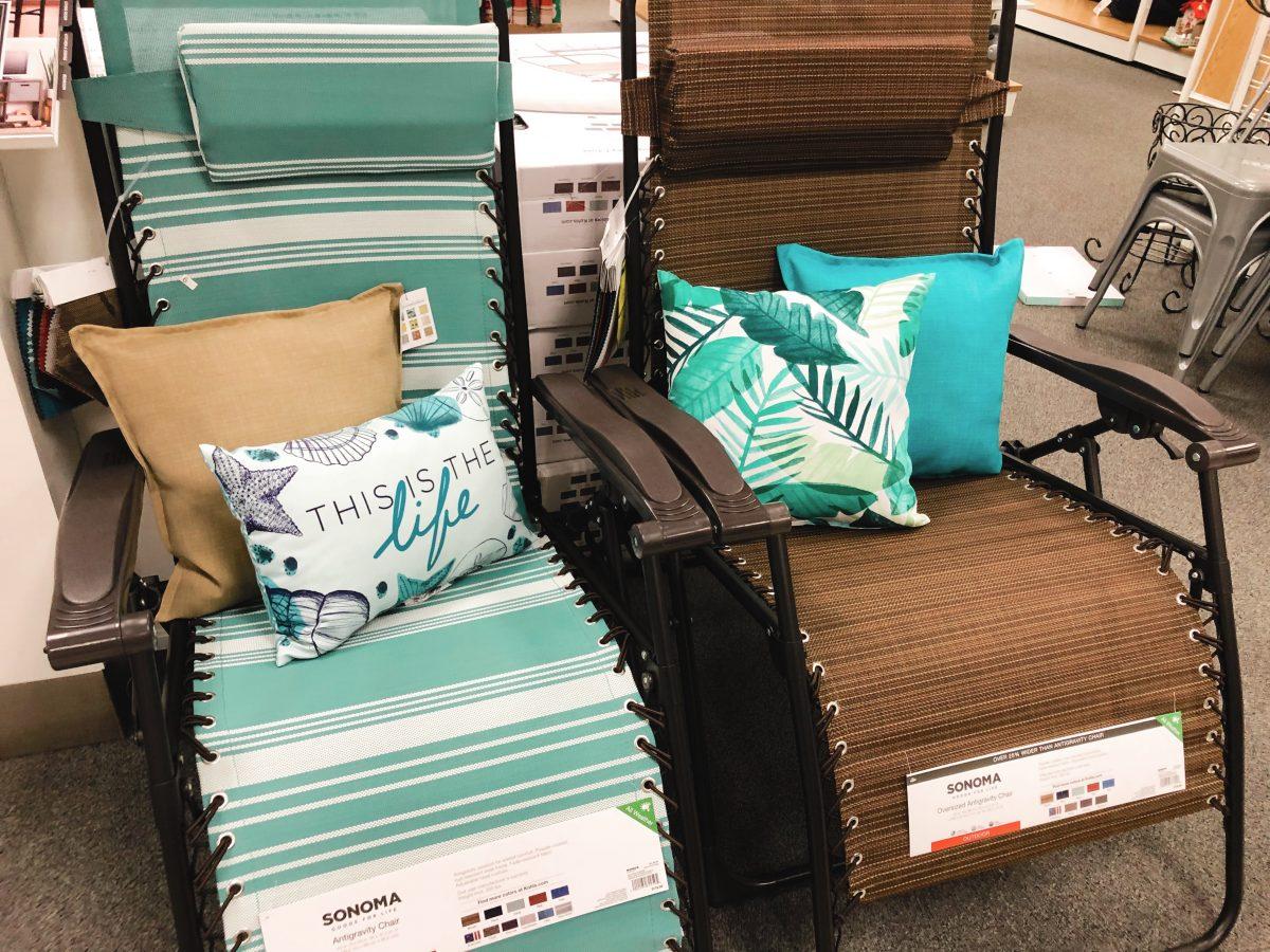 Kohl's anti-gravity chairs in brown and aquamarine stripe