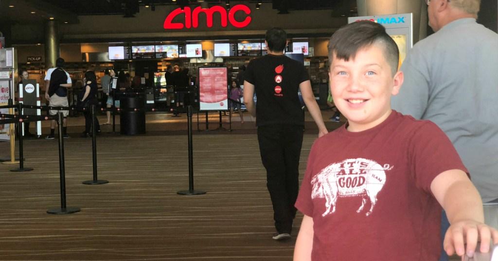 Lina's son outside AMC theater