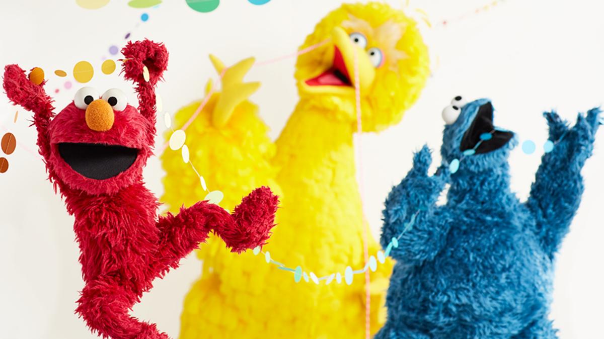 Sesame Street characters Elmo, Big Bird, and Cookie Monster