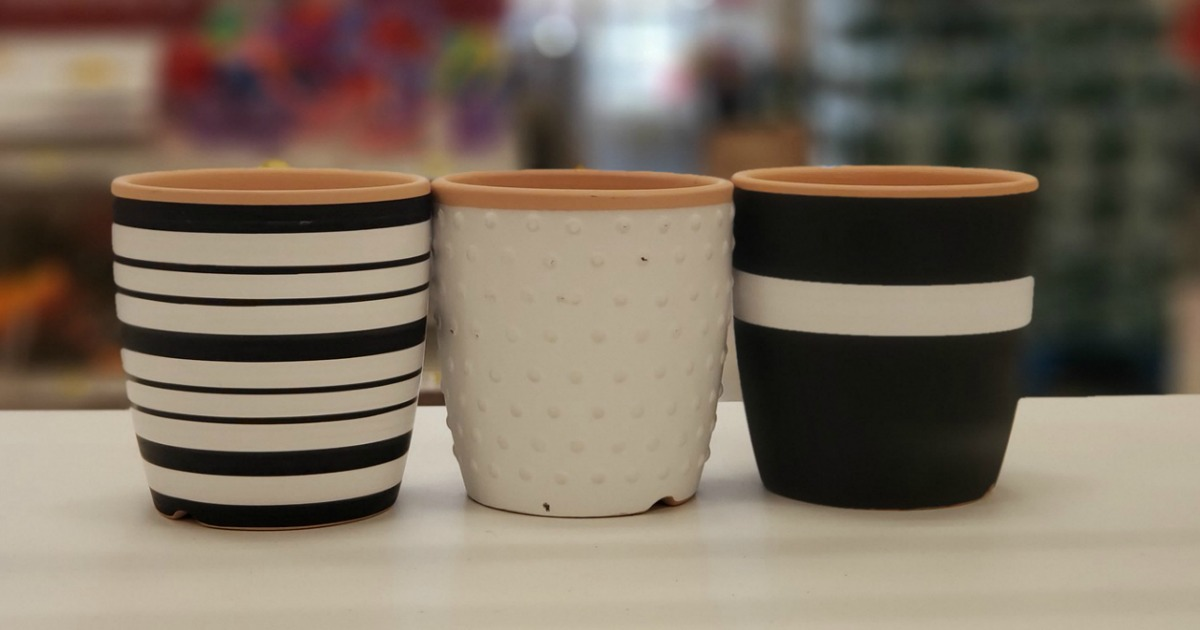 Cute Black & White Planters Only $1 at Target