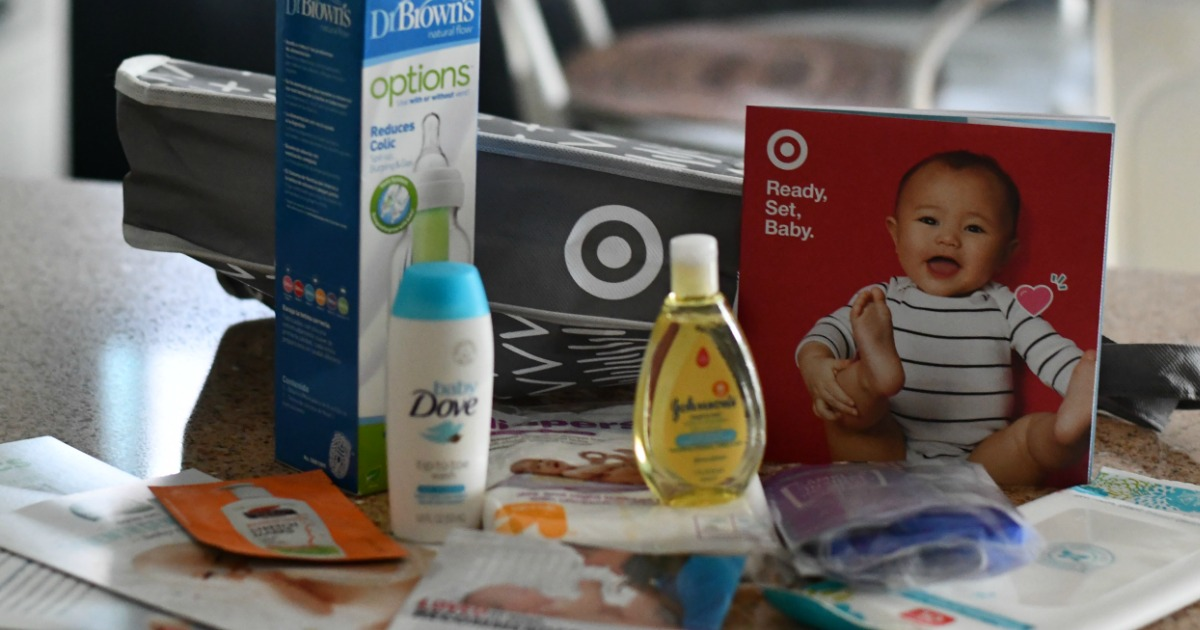 baby welcome bag from Target – baby dove, dr. browns bottle, baby shampoo