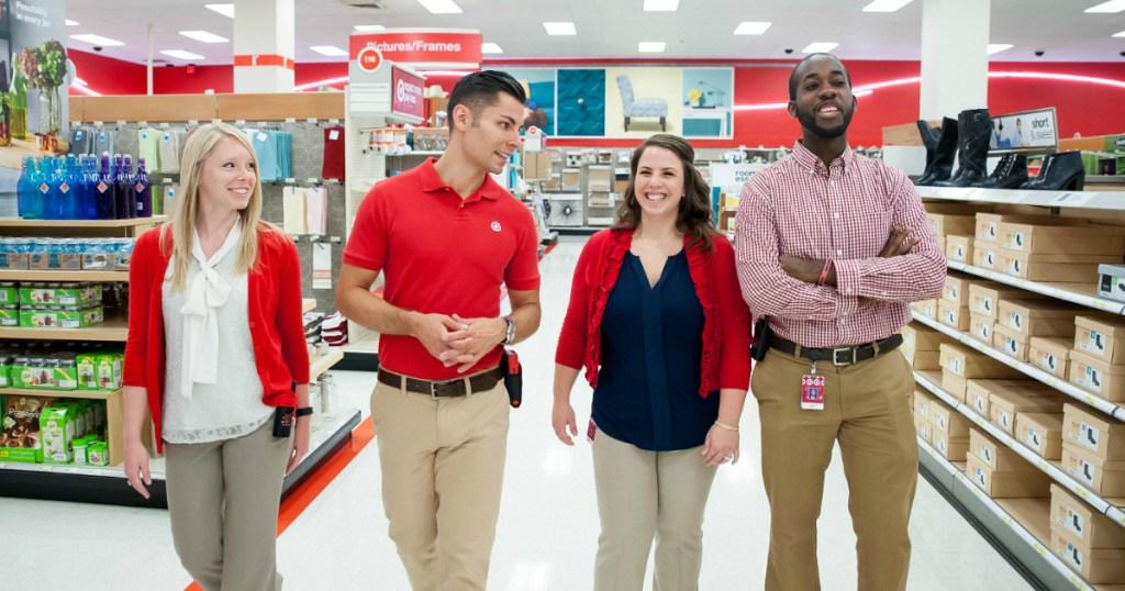 Target employees walking aisles