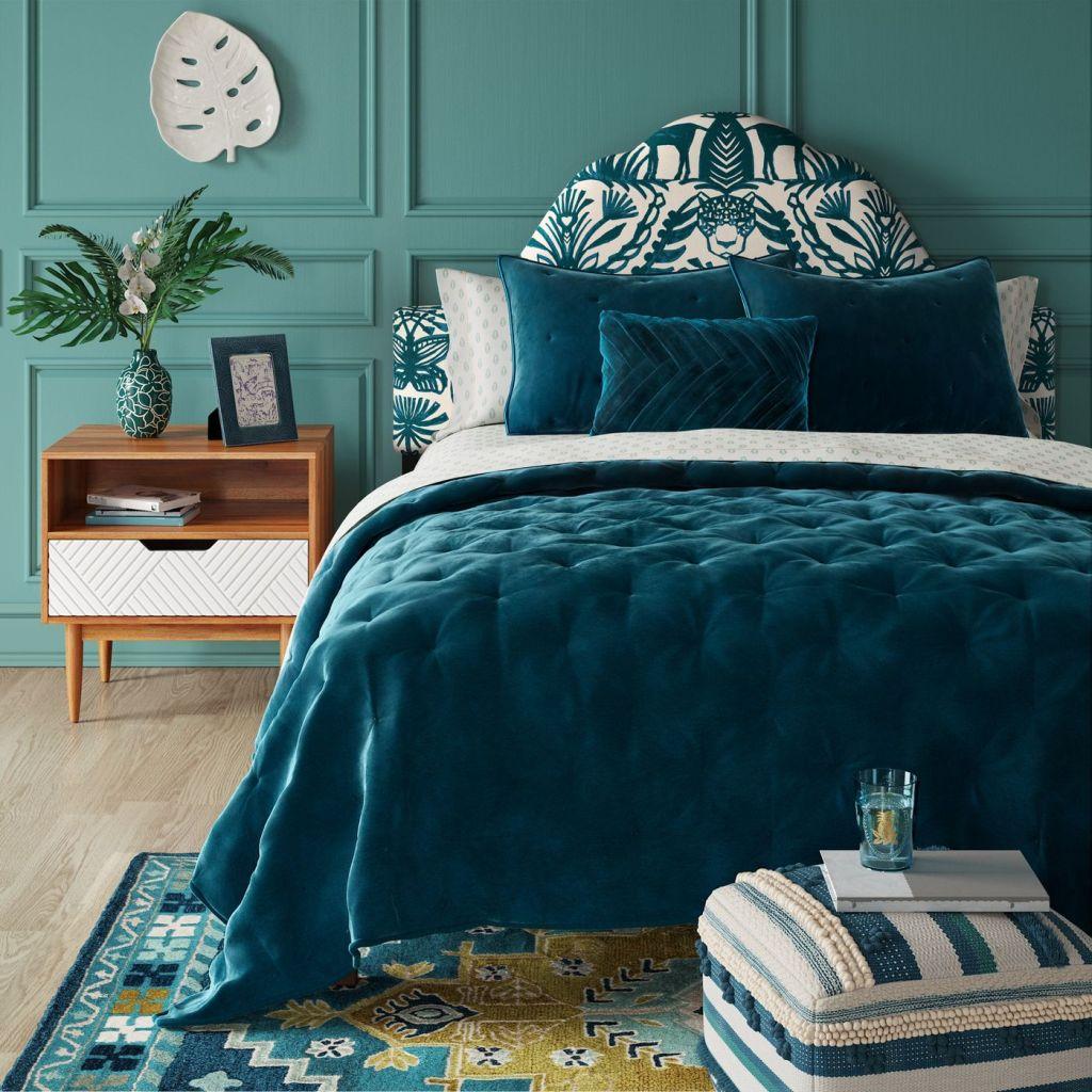 Touraco Nightstand in blue sleek bedroom