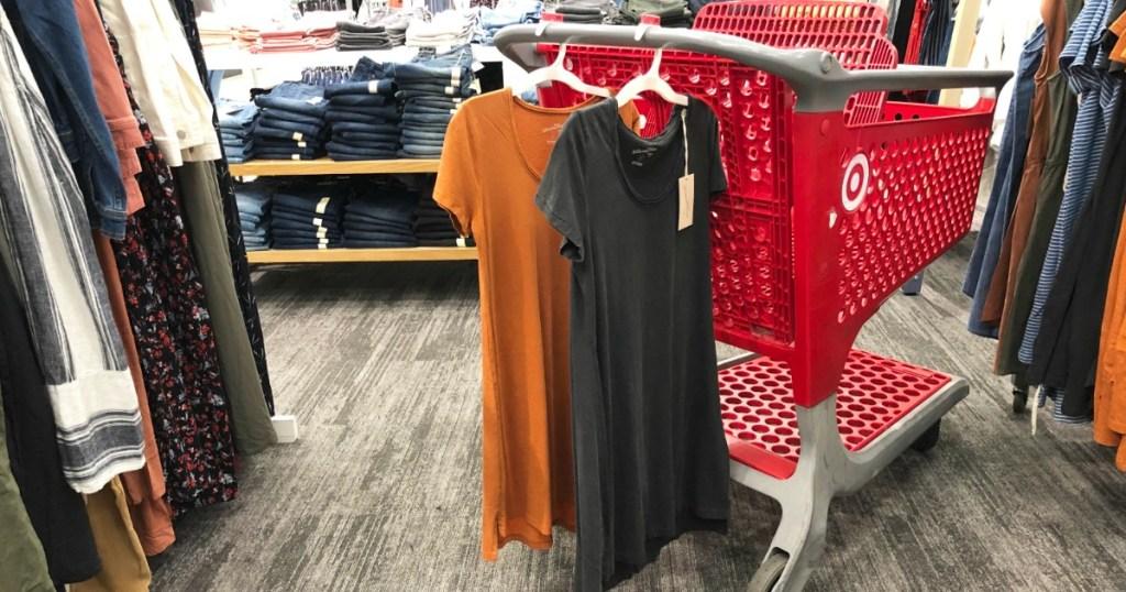 orange and black universal thread t shirt dress on target cart