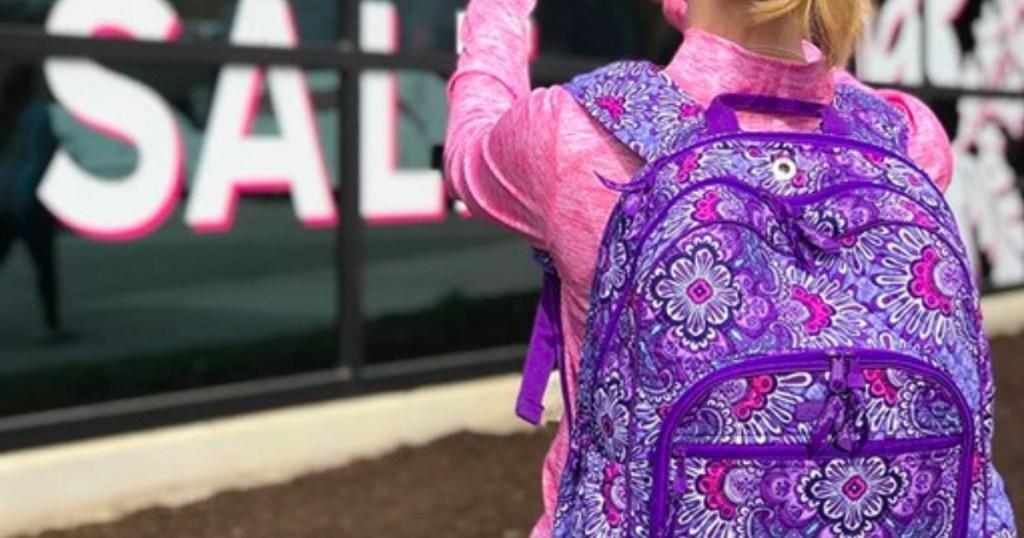 girl wearing Vera Bradley backpack