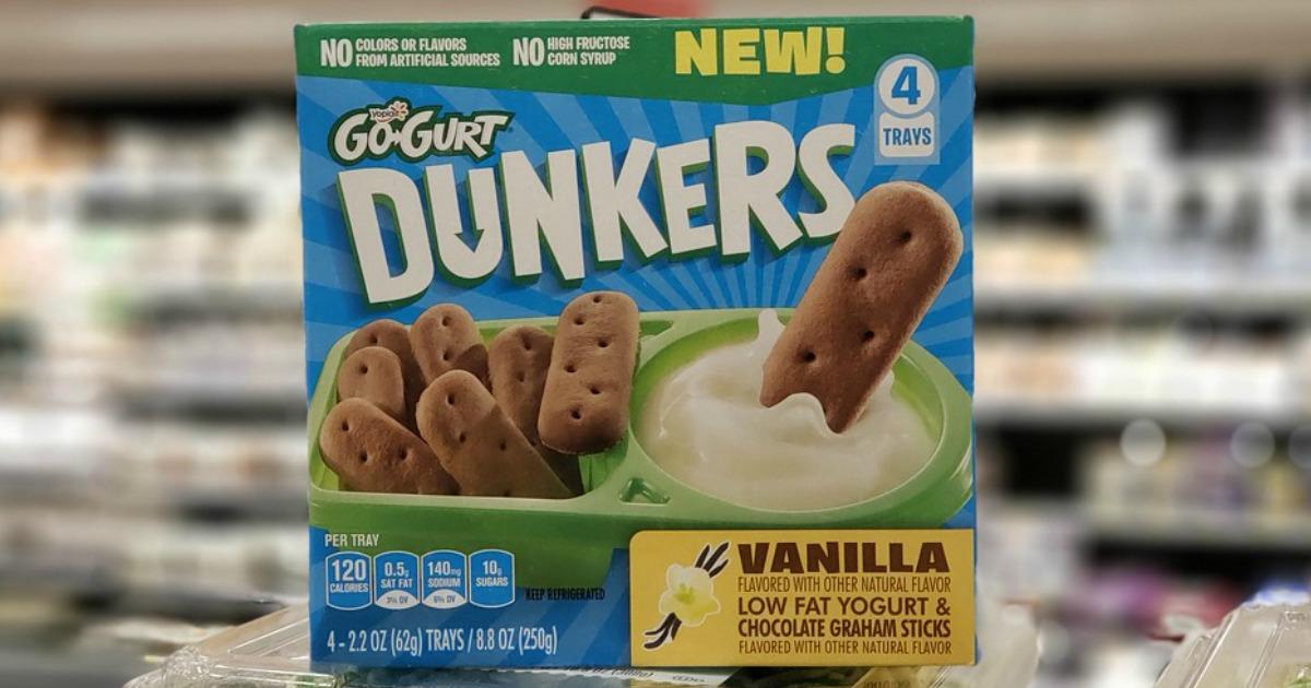 vanilla go-gurt dunkers box at grocery store