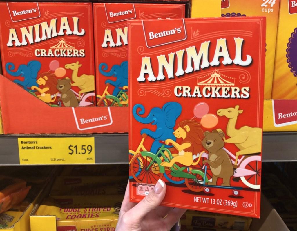 Benton's animal cracker boxes at ALDI