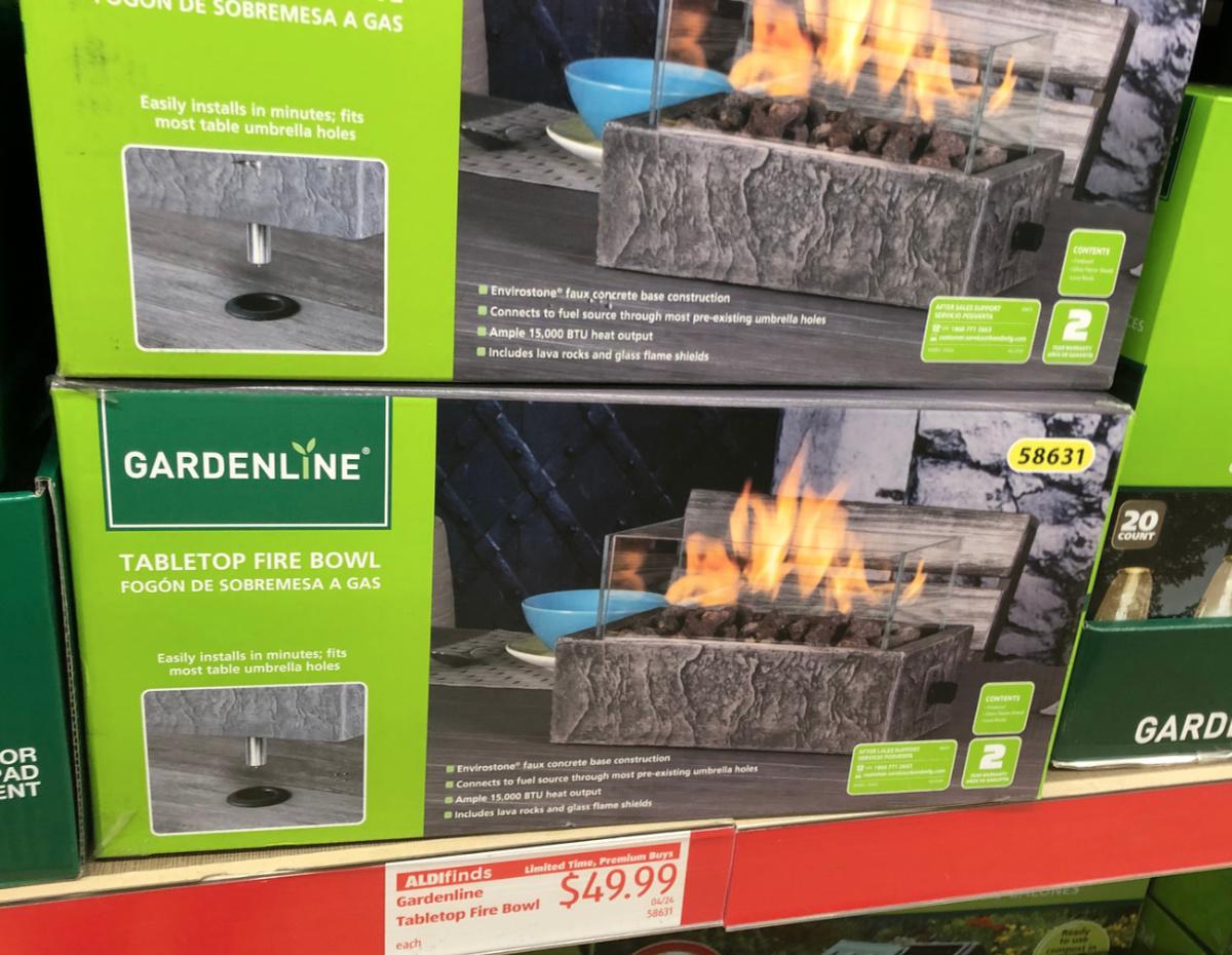 New Patio Deals At Aldi Tabletop Fire Bowl Adirondack