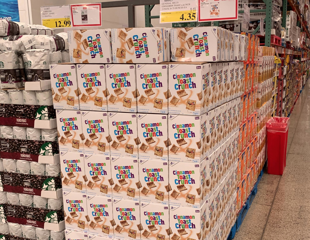 cinnamon toast crunch on an end cap at Costco