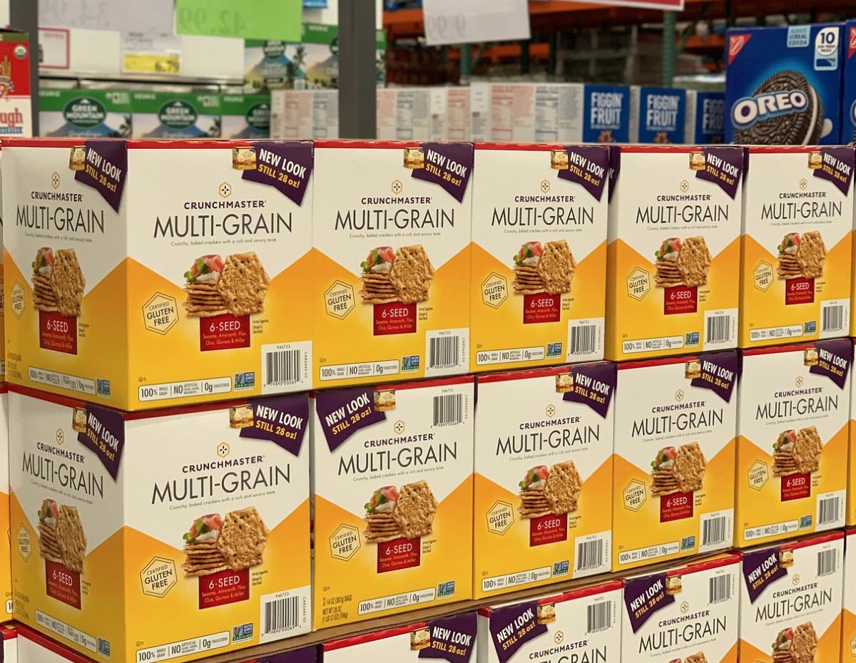 crunchmaster multigrain crackers at Costco