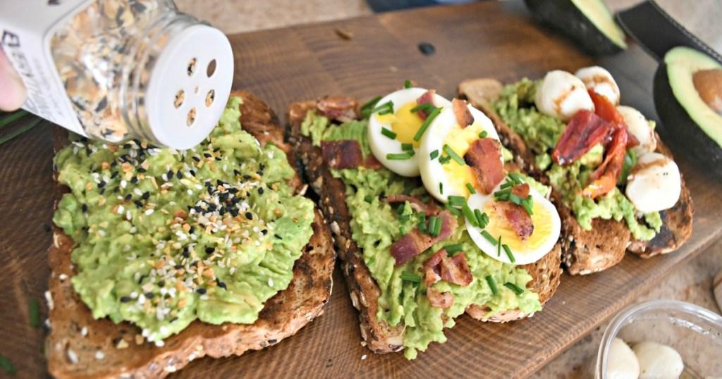 putting everything bagel seasoning on avocado toast