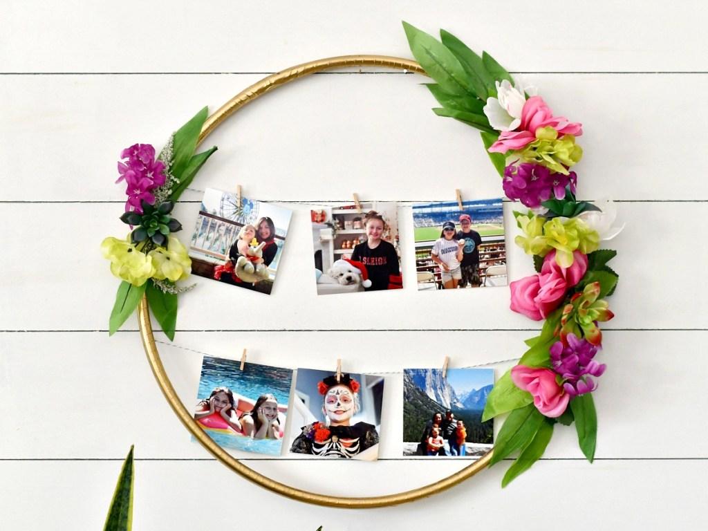 diy hula hoop photo display hanging on the wall